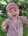 Camdyn in her new Kiddie Cadet, made from Rowan Summer Tweed.