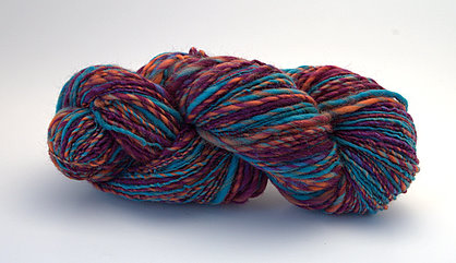Deep purple, orange, and turquoise handspun!