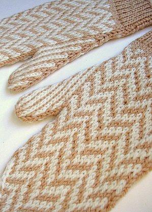 Kathryn ivy archive classy herringbone mittens camel and white herringbone mittens dt1010fo