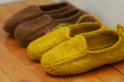 Slippers in a row.