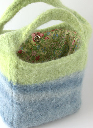 Marsupial Tote made from Nature Wool and lined with Amy Butler Charm