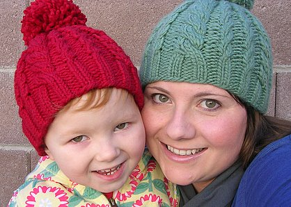 Mom and daughter Snowball Hats.
