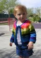 Camdyn wearing her Tulip Sweater, knit in Malabrigo Worsted.
