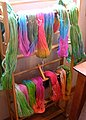 All of my yarn drying on a rack.