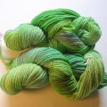 Cascade 220 dyed different shades of green.