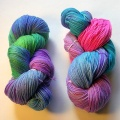 Variety of dyed KnitPicks sock yarn.
