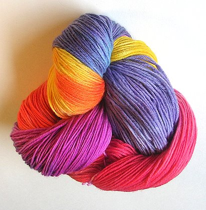 Cascade 220 dyed in a rainbow of colors.