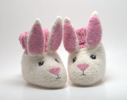 Bunny booties with needle felted faces.