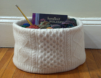 My very on felted sweater knitting basket.